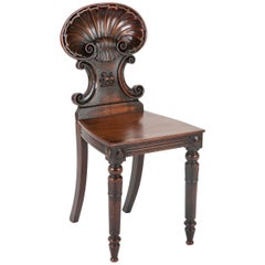 Early 19th Century Georgian Shell Back Hall Chair with Lion Carving