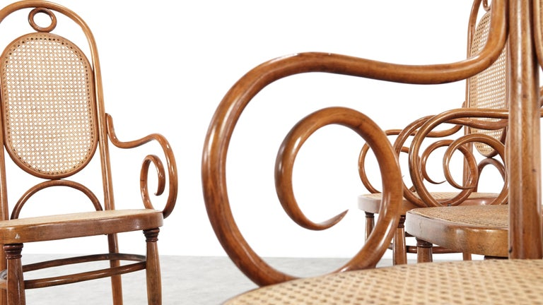 Early Set of Four Michael Thonet No. 17 Bentwood and Cane High Back Armchair For Sale 4