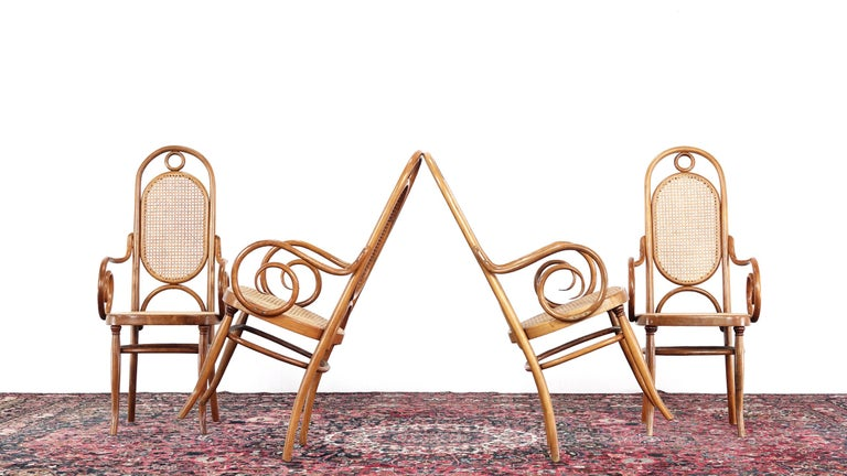 Early Set of Four Michael Thonet No. 17 Bentwood and Cane High Back Armchair For Sale 7