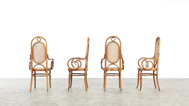 Early Set of Four Michael Thonet No. 17 Bentwood and Cane High Back Armchair For Sale 9