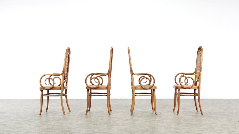 Early Set of Four Michael Thonet No. 17 Bentwood and Cane High Back Armchair For Sale 11