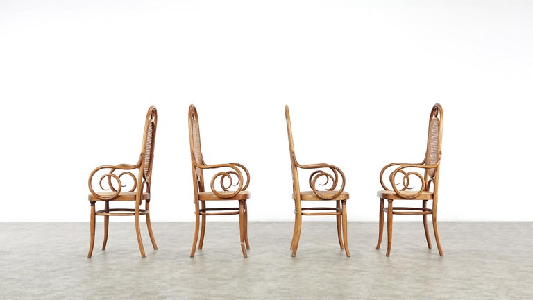 Early Set of Four Michael Thonet No. 17 Bentwood and Cane High Back Armchair For Sale 12
