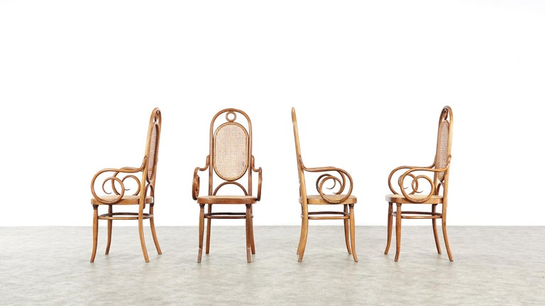Early Set of Four Michael Thonet No. 17 Bentwood and Cane High Back Armchair For Sale 14