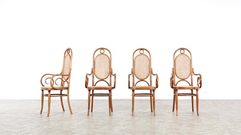 Vienna Secession Early Set of Four Michael Thonet No. 17 Bentwood and Cane High Back Armchair For Sale