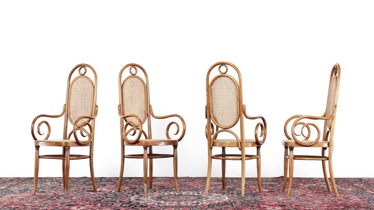 German Early Set of Four Michael Thonet No. 17 Bentwood and Cane High Back Armchair For Sale