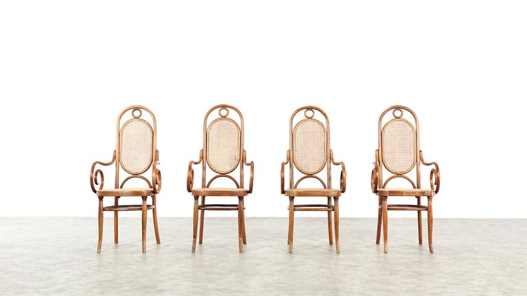 19th Century Early Set of Four Michael Thonet No. 17 Bentwood and Cane High Back Armchair For Sale