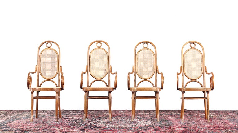 Early Set of Four Michael Thonet No. 17 Bentwood and Cane High Back Armchair For Sale 1