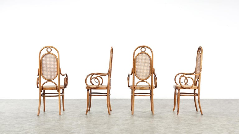 Early Set of Four Michael Thonet No. 17 Bentwood and Cane High Back Armchair For Sale 3