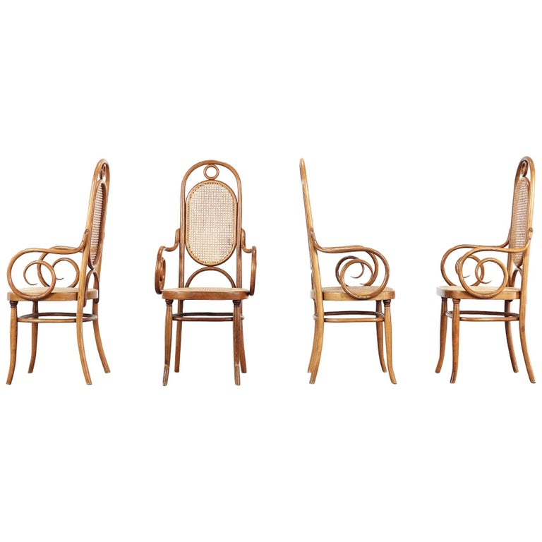 Early Set of Four Michael Thonet No. 17 Bentwood and Cane High Back Armchair For Sale