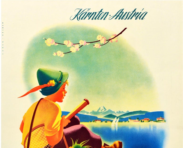 Original Vintage Poster Velden Worther See Lake Sailing Golf Tennis Mountains - Print by A Ebner