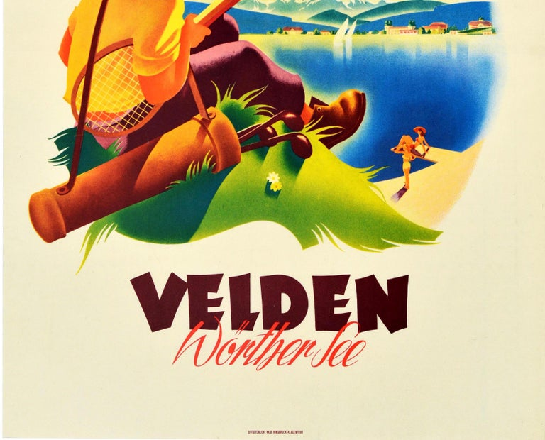 Original Vintage Poster Velden Worther See Lake Sailing Golf Tennis Mountains - Yellow Print by A Ebner