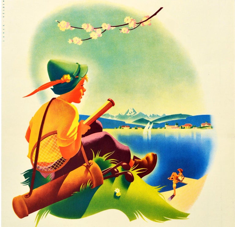 Original vintage travel poster promoting Velden Worther See - a market town on the shore of the Worthersee lake in Carinthia / Karnten Austria - showing a young boy in a traditional Austrian hat carrying golf clubs and a tennis racket on a grassy