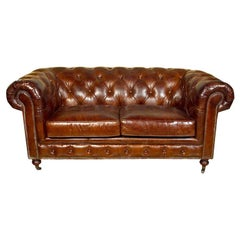 English Leather Chesterfield Sofa, Settee