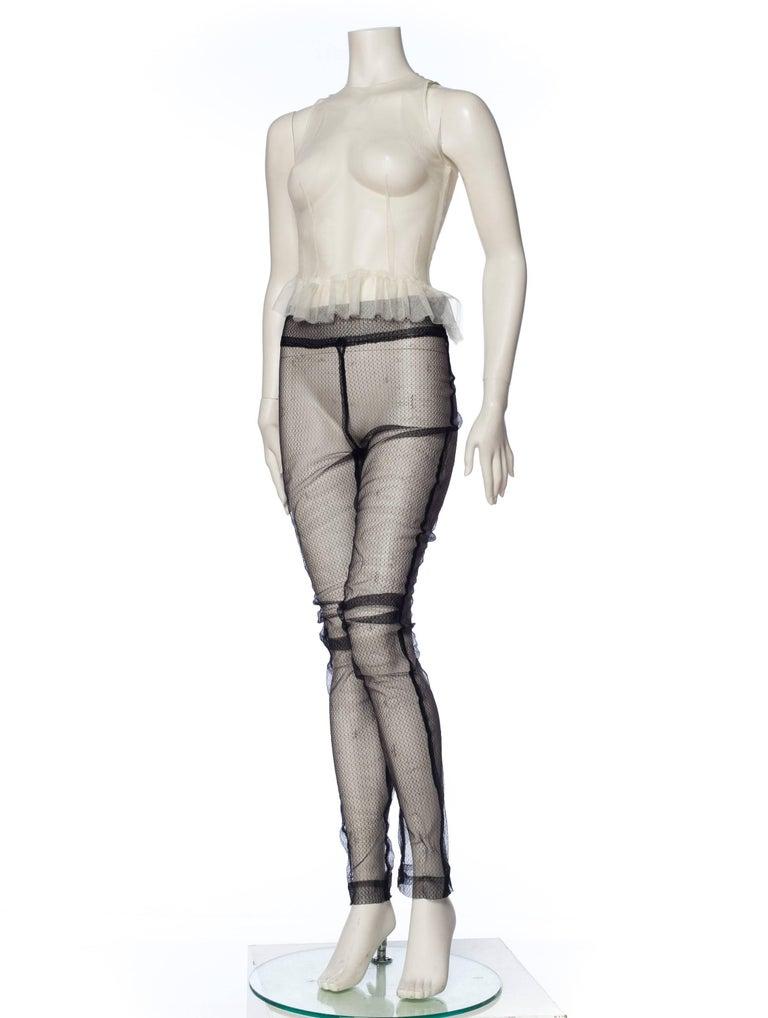 Gray A F Vandervorst Sheer Net Leggings and Tank Ensemble For Sale