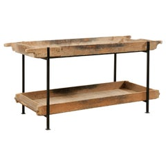 Fabulous Custom 2-Tiered Table from Long French Baker's Shelves