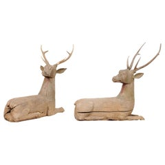 Fabulous Pair of 19th Century Hand Carved Wood Deer with Antlers from Burma