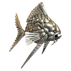 Fantastic Large 1950s Sculpture of a Fish Made from Silver Plated Spoons