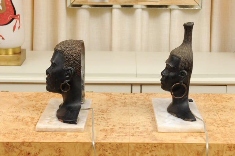 Fantastic Pair of Art Deco Bronze Tribal Sculptures, circa 1935 For Sale 5
