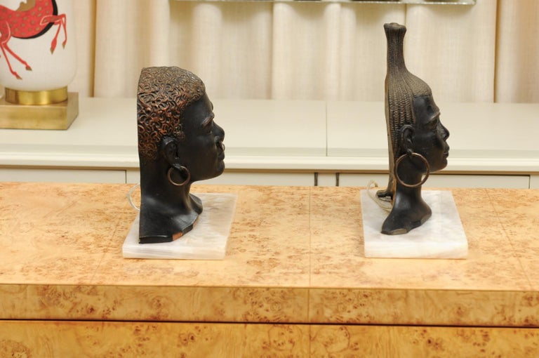 Fantastic Pair of Art Deco Bronze Tribal Sculptures, circa 1935 For Sale 1