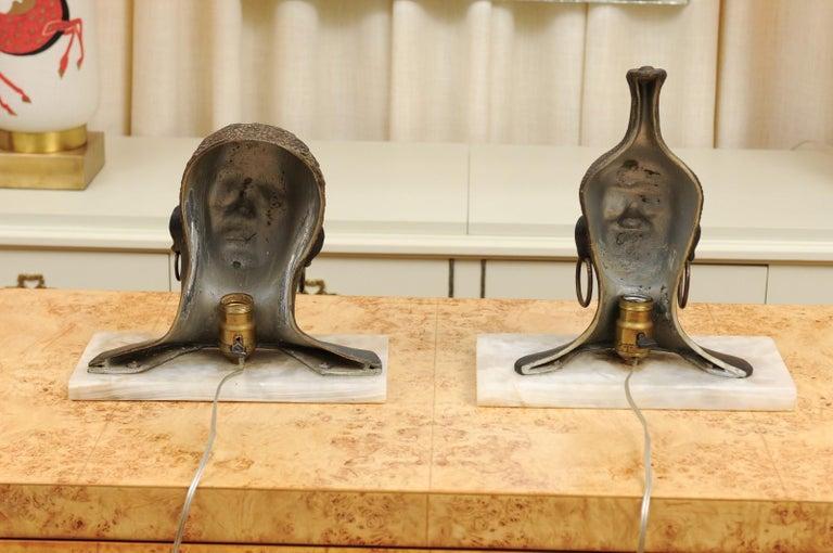Fantastic Pair of Art Deco Bronze Tribal Sculptures, circa 1935 For Sale 4