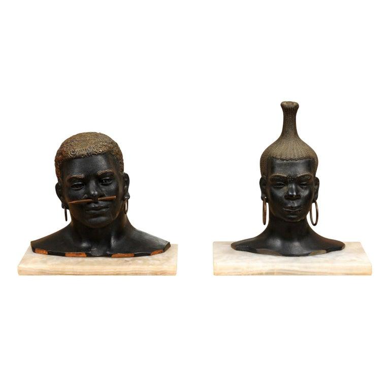 Fantastic Pair of Art Deco Bronze Tribal Sculptures, circa 1935 For Sale