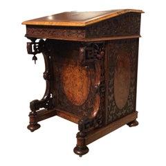 Fantastic Quality Burr Walnut Victorian Period Carved Antique Davenport