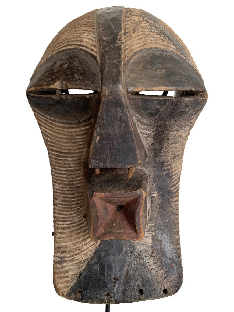 20th Century Female Songye Kifwebe Hand Carved Ceremonial Mask