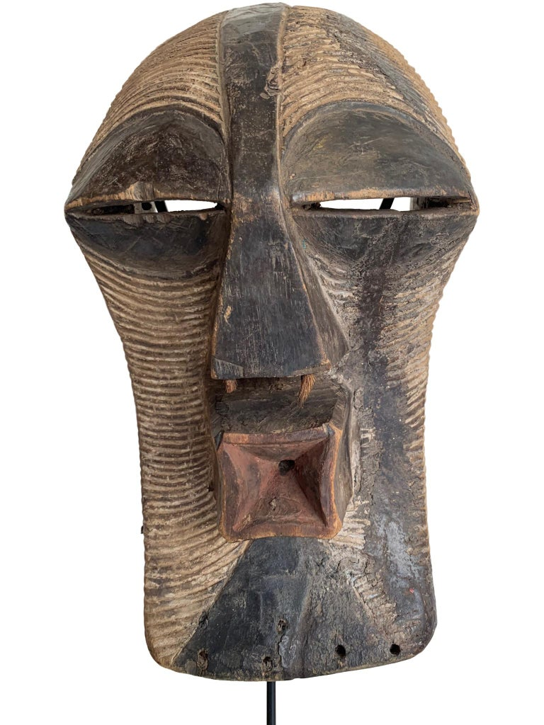 Paint Female Songye Kifwebe Hand Carved Ceremonial Mask