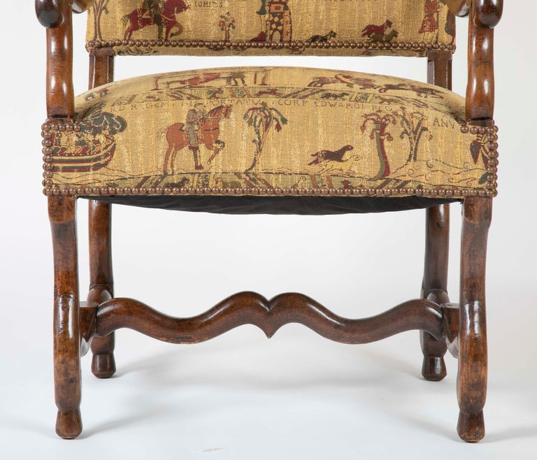 French Fenh Louis XIII Style Walnut Armchair For Sale