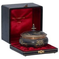 Ferdinand Barbedienne Damascene Gold and Silver Inlaid Bronze Box
