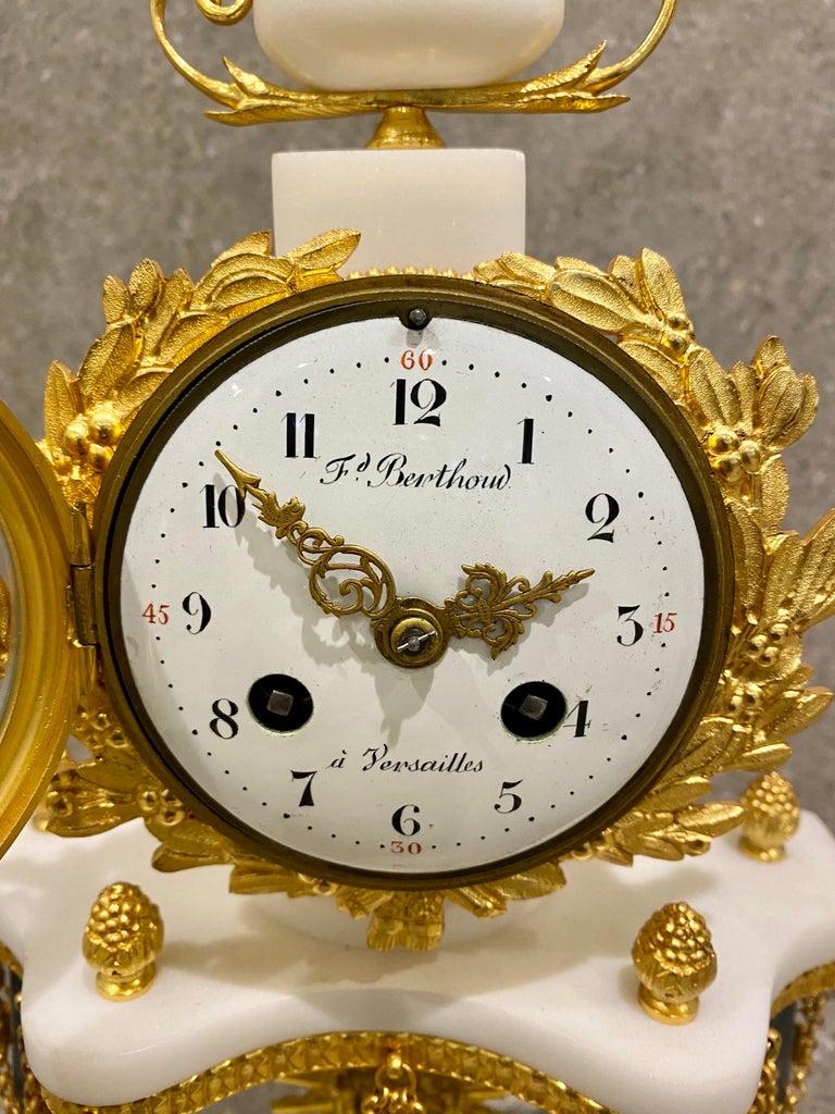 Ferdinand Berthoud. Louis XVI Ormolu Mounted Marble 3 Piece Clock Set 1770 For Sale 4