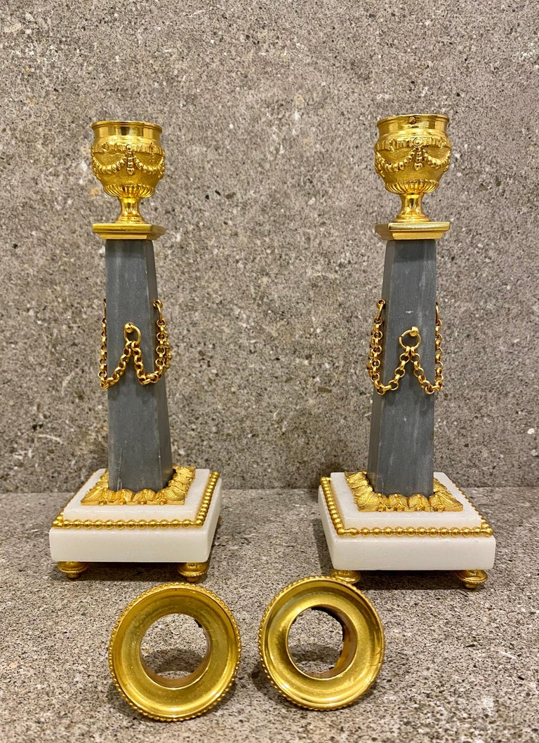 Ferdinand Berthoud. Louis XVI Ormolu Mounted Marble 3 Piece Clock Set 1770 For Sale 8