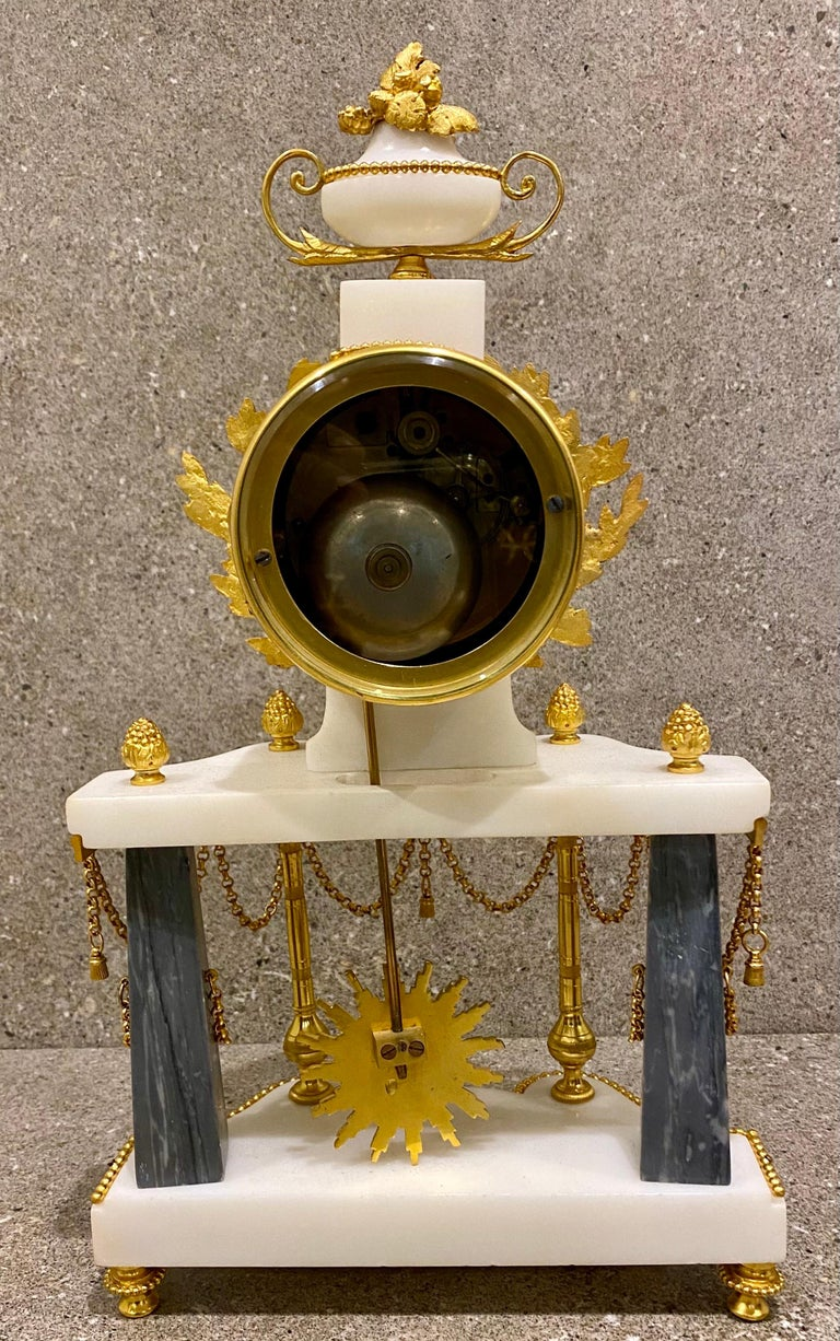 Ferdinand Berthoud. Louis XVI Ormolu Mounted Marble 3 Piece Clock Set 1770 For Sale 9