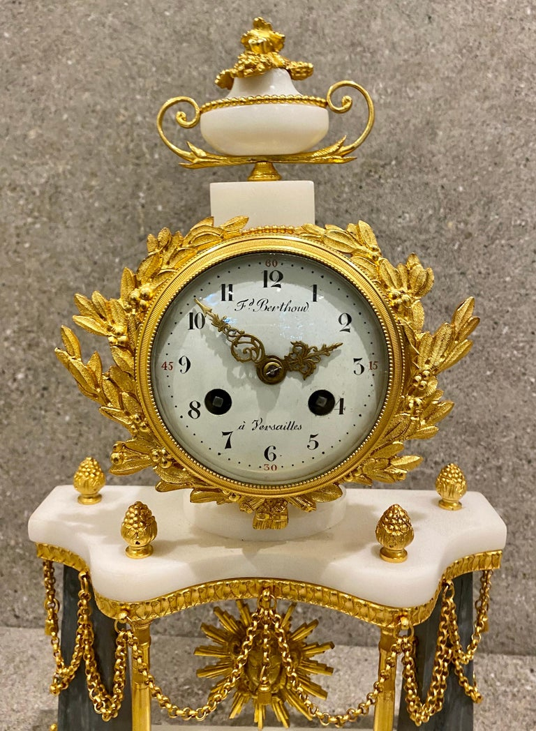 Ferdinand Berthoud. Louis XVI Ormolu Mounted Marble 3 Piece Clock Set 1770 For Sale 11