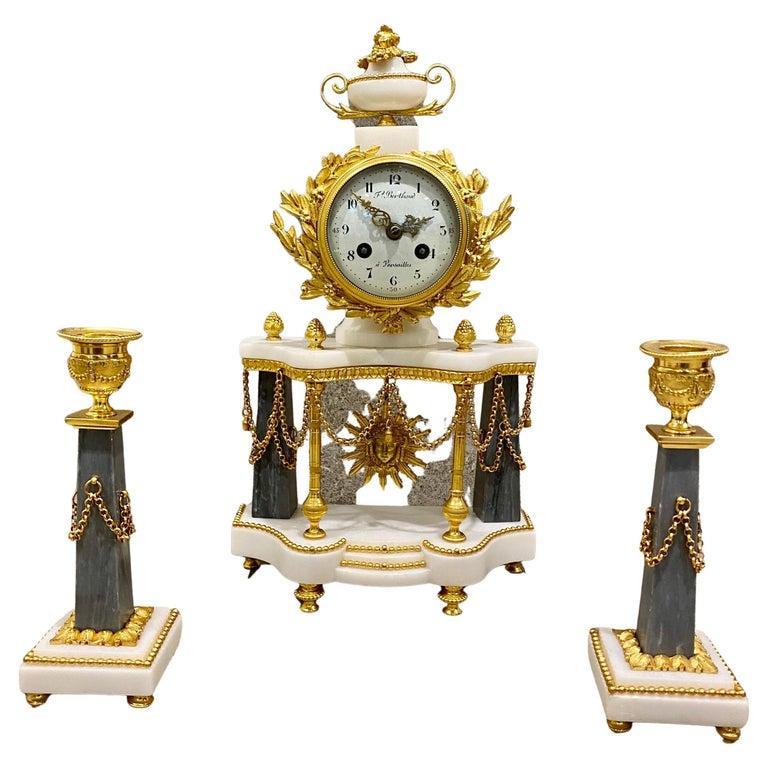 Ferdinand Berthoud. Louis XVI Ormolu Mounted Marble 3 Piece Clock Set 1770 For Sale 12