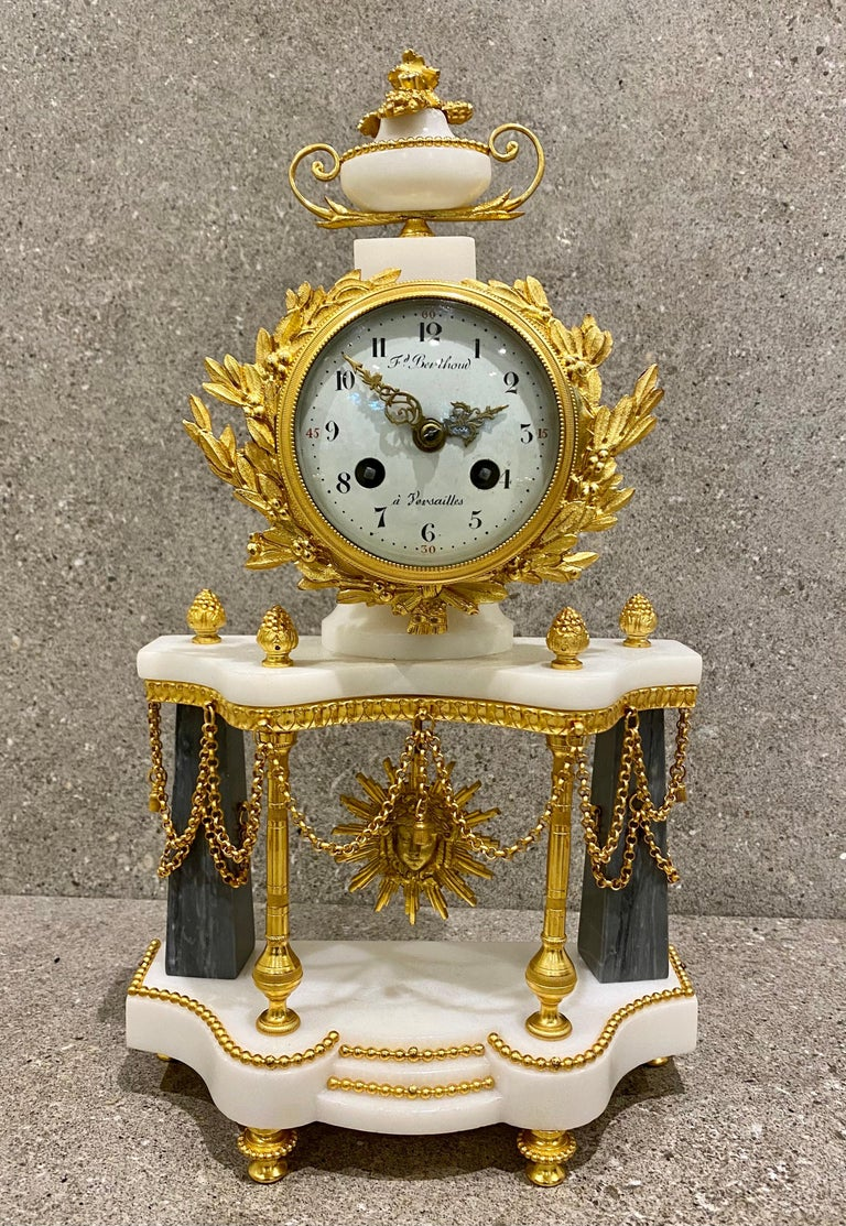A very fine Louis XVI ormolu clock set, by Ferdinand Berthoud, Paris, circa 1770 This clock set is presented in gilt Bronze and Bleu Turqin and white marble. A superb combination rarely seen. this is in immaculate order and ready for immediate