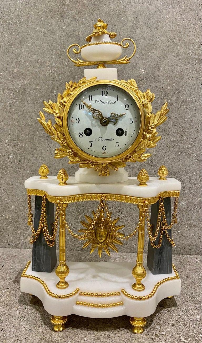 Late 18th Century Ferdinand Berthoud. Louis XVI Ormolu Mounted Marble 3 Piece Clock Set 1770 For Sale