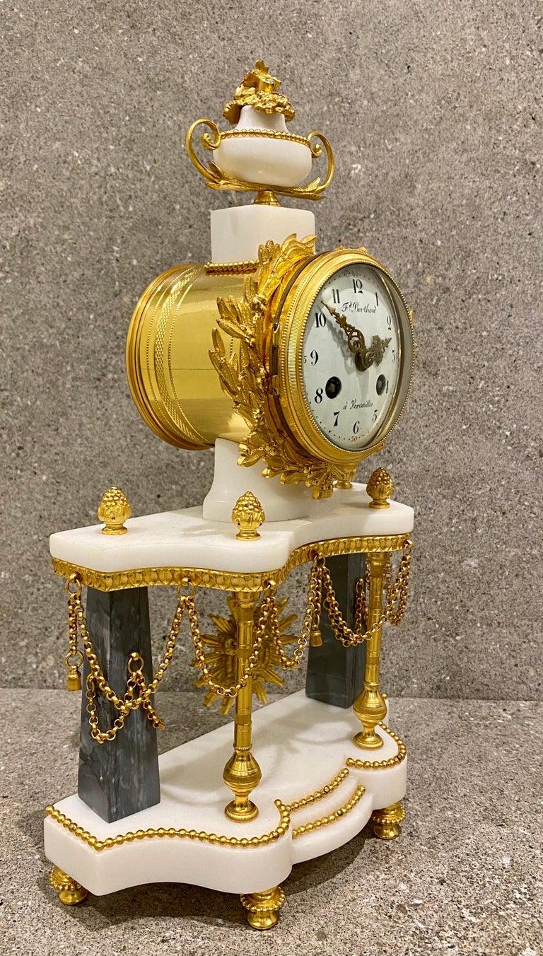Bronze Ferdinand Berthoud. Louis XVI Ormolu Mounted Marble 3 Piece Clock Set 1770 For Sale