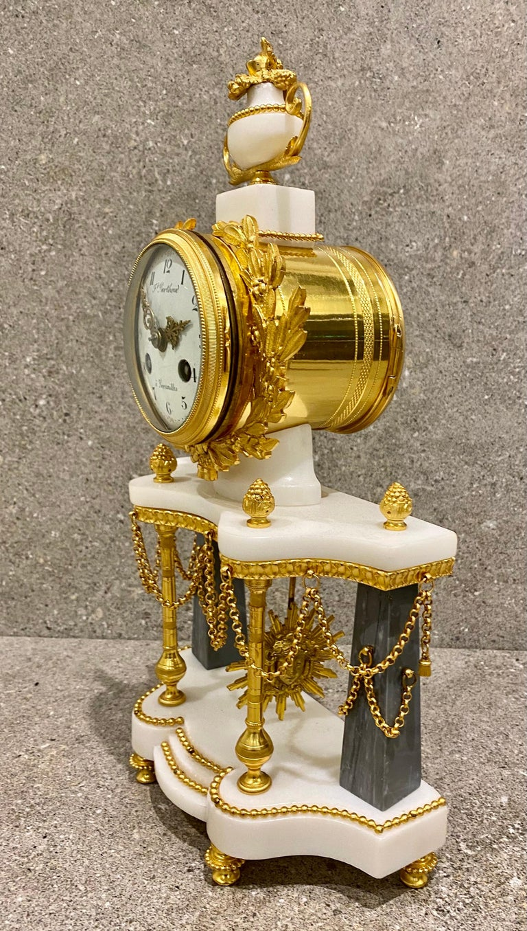 Ferdinand Berthoud. Louis XVI Ormolu Mounted Marble 3 Piece Clock Set 1770 For Sale 1