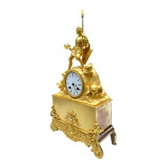 Figurative Napoleon III Gilt Bronze Clock Showing a Knight Crusader in Battle