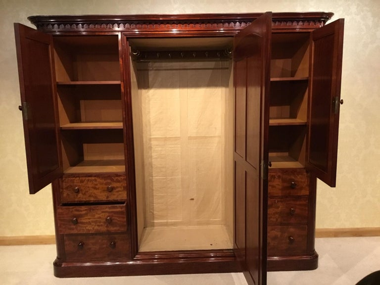 Figured Mahogany Victorian Period Wardrobe by Holland & Sons of London For Sale 10