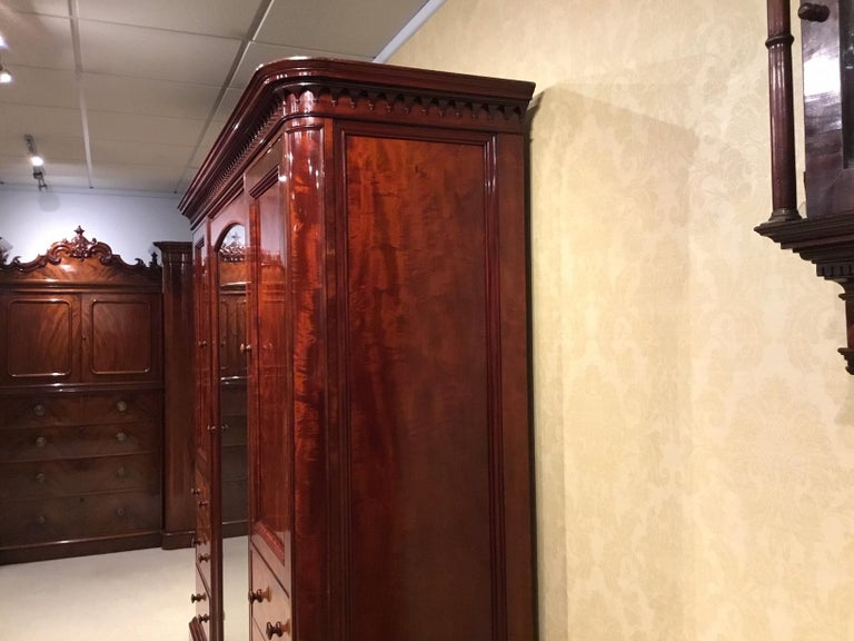 Figured Mahogany Victorian Period Wardrobe by Holland & Sons of London For Sale 11
