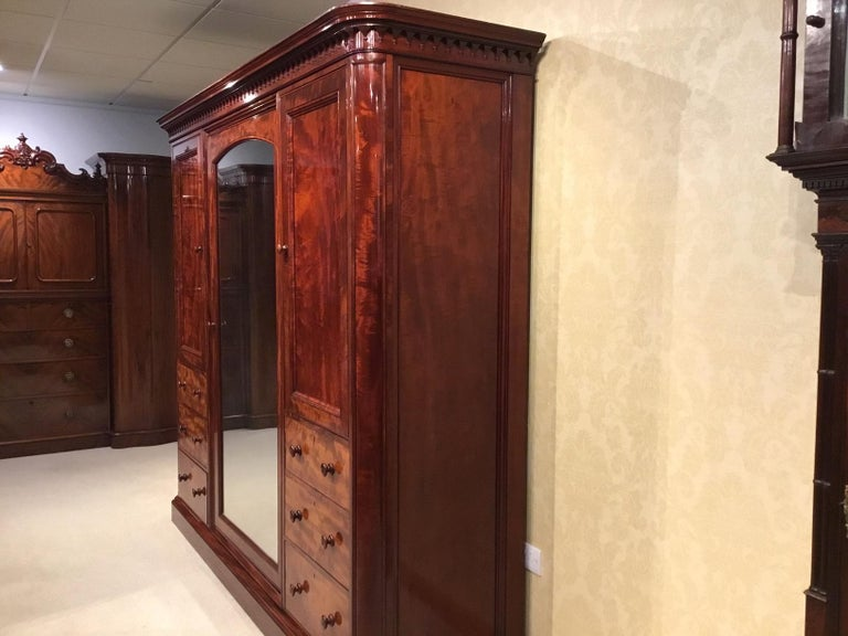 Figured Mahogany Victorian Period Wardrobe by Holland & Sons of London For Sale 13