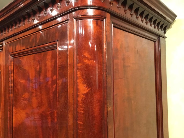 Figured Mahogany Victorian Period Wardrobe by Holland & Sons of London For Sale 14