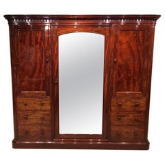 Figured Mahogany Victorian Period Wardrobe by Holland & Sons of London