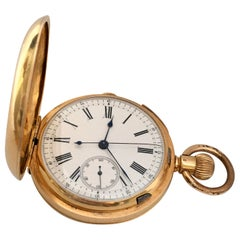 Fine 18 Karat Gold Full Hunter Chronograph and Quarter Repeating Pocket Watch