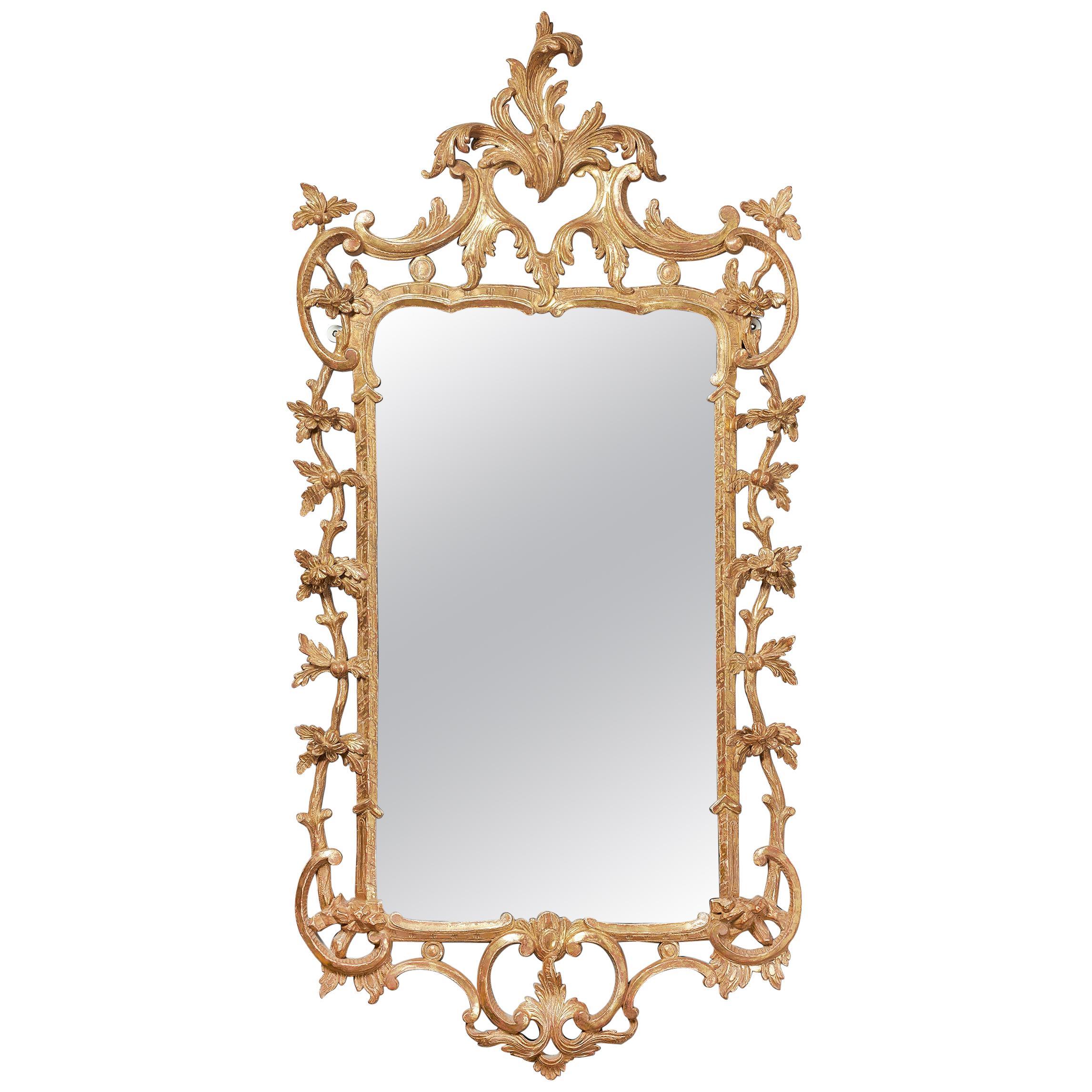 Fine 18th Century Georgian Chippendale Giltwood Rococo Mirror, circa 1760