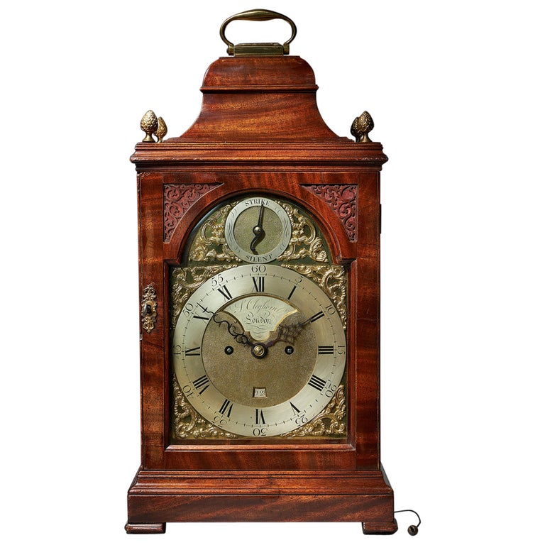 Fine 18th Century Mahogany Eight Day Table Clock with Trip Quarter Repeat For Sale