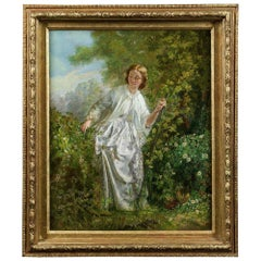 Fine 19th Century Oil Painting of a Girl in Nature