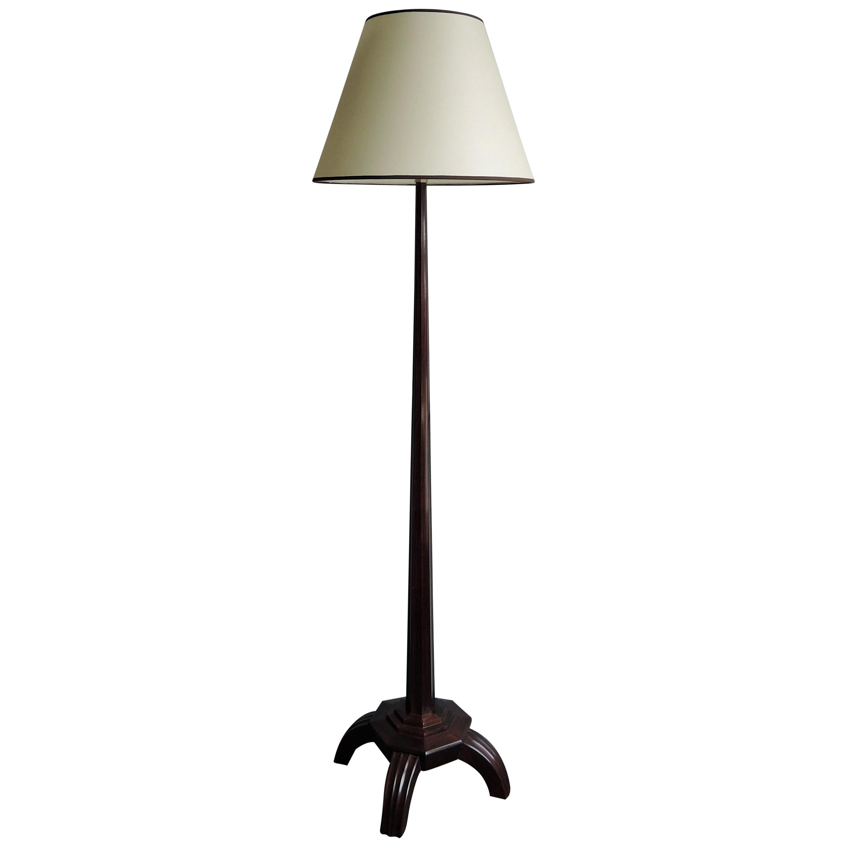 Fine and Rare French Art Deco Rosewood Floor Lamp